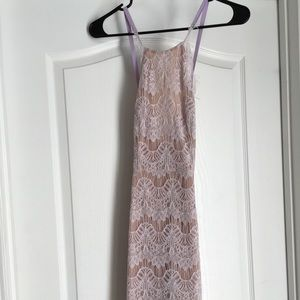 Gorgeous high neck lace dress nude with lilac lace